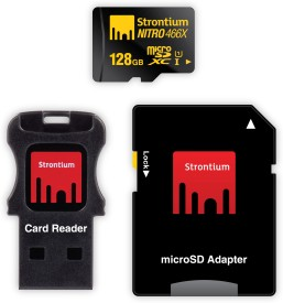 Strontium Nitro 466x 128GB MicroSDXC Class 10 (70MB/s) UHS-1 Memory Card (With USB Card Reader & SD Adapter)