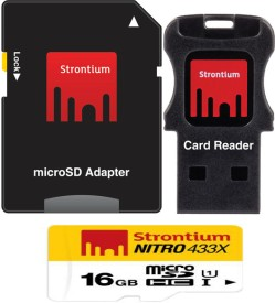 Strontium Nitro 433x 16GB MicroSDHC Class 10 USH-1 Memory Card (With Card Reader & Adapter)