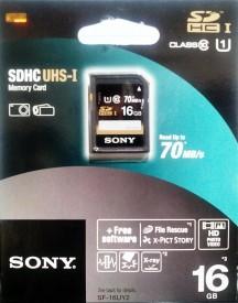 Sony SF-16UY2 16GB SDHC UHS-I 70MB/s Class 10 Memory Card