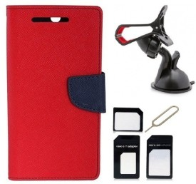 Edge Plus Sony Xperia E4 Wallet Case,Mobile Stand,Sim Card Adapter Combo Set