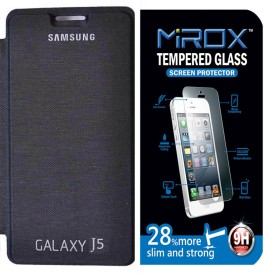 Mirox Flip Cover For Samsung Galaxy J5 With Tempered Glass Combo Set