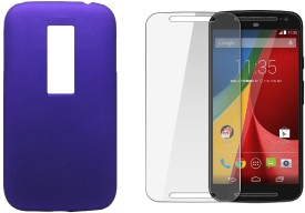 iCopertina Motorola Moto G 3rd Gen Back Cover Soft PURPLE & Tempered Glass Combo Set
