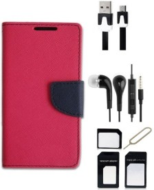 Edge Plus Sony Xperia E4 Wallet Case,Datacable,Earphones,Sim Card Adapter Combo Set