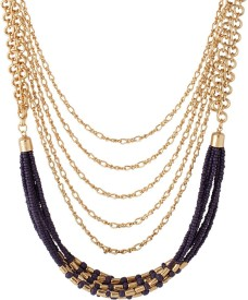 Voylla Artificial Beaded Plain Yellow Gold Plated Alloy Necklace