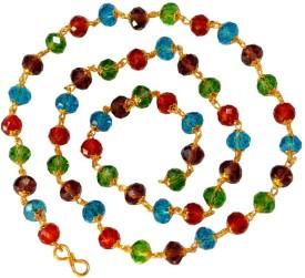 Men Style Handcrafted SwarovskiMulti Coloured 8 mm Golden Cap Crystal bead (53 Bead) Swarovski Zirconia Crystal Necklace