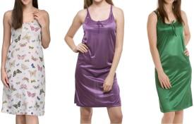 Bacchus Women's Nighty(Multicolor, Purple, Green)