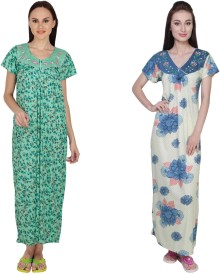 Simrit Women's Nighty(Green, Blue)