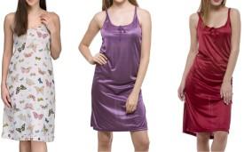 Meow Women's Nighty(Multicolor, Purple, Maroon)