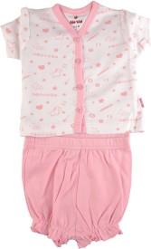 Bio Kid SHORT PYJAMA - WHITE AOP TOP & ORCHID PINK Baby Girl's Printed Top & Shorts Set