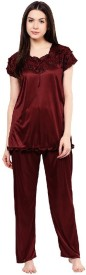 Boosah Women's Solid Brown Top & Pyjama Set