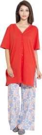 Forever9teen Women's Printed Red Top & Pyjama Set