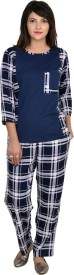 9teenAGAIN Women's Checkered Multicolor Top & Pyjama Set