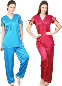 Boosah Women's Solid Multicolor Top & Pyjama Set
