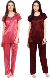 Boosah Women's Solid Pink, Brown Top & Pyjama Set