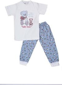 Earth Conscious Boy's Graphic Print White Top & Pyjama Set