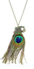 Cinderella Fashion Jewelry Peacock Feather Alloy Pendant