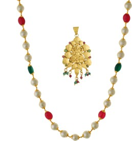 Vama Fashions Goddess Devi Lakshmi temple Pendant with Elephants Yellow Gold Alloy Pendant Set
