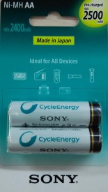Sony NH-AA-B2GN 2500mAh Rechargeable Ni-MH Batteries(2 Pcs)