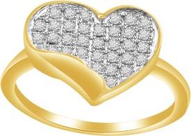 Vijisan 0.40 CT. Heart Shape Cluster Sterling Silver Cubic Zirconia 18K Yellow Gold Ring