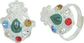 Memoir Mangal Kalash Shaped Brass Cubic Zirconia Silver Plated Toe Ring Set
