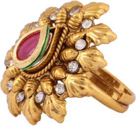 Sushito Amazing Beauty Floral Golden Fingure Alloy Crystal Yellow Gold Ring