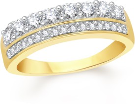 VK Jewels Two Lines Band Alloy Cubic Zirconia 18K Yellow Gold Plated Ring
