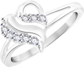 Vidhi Jewels Heart Shaped Alloy, Brass Cubic Zirconia Rhodium, Silver Plated Ring