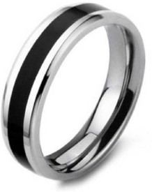 Aaishwarya Black Bling Band Mens Stainless Steel Ring