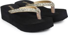 Shoetopia Women Golden Wedges