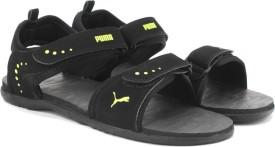 Puma Men Black-Limepunch Sports Sandals