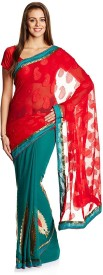 satrang self design fashion brasso fabric saree(red)