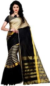 trendz style printed, striped fashion tussar silk, cotton, cotton linen blend saree(multicolor)