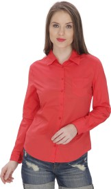 MansiCollections Women's Solid Formal Red Shirt