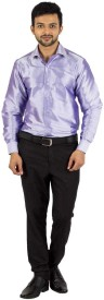 Khoday Williams Men's Solid Formal Purple Shirt