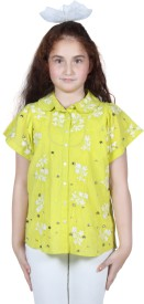 Miss Nightingale Girl's Embellished, Embroidered Party, Festive Shirt