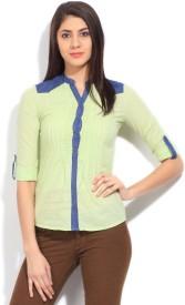 Wrangler Women's Solid Casual Green Shirt