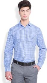 Mark Taylor Men's Checkered Formal White, Blue Shirt