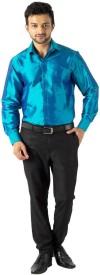 Khoday Williams Men's Solid Formal Blue Shirt