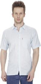 Fizzaro Men's Solid Formal Linen Light Blue Shirt