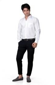 Finger's Men's Solid Casual, Formal, Wedding, Festive White Shirt