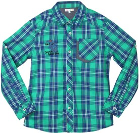 Poppers by Pantaloons Girl's Checkered Casual Green Shirt