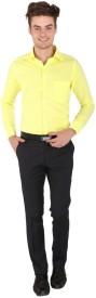 PSK Men's Solid Formal Yellow Shirt
