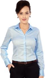Van Heusen Women's Solid Formal Blue Shirt
