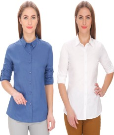 LEAF Women's Solid Formal Blue, White Shirt(Pack of 2)