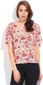 Lee Women's Printed Formal Beige, Red Shirt