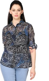 Fashionholic Women's Floral Print Casual Grey Shirt