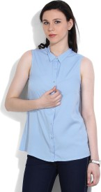 United Colors of Benetton Women's Solid Casual Blue Shirt