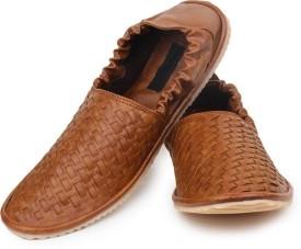 Shoe Island Ethnic Mojari Tan Brown Loafers Mojaris(Tan, Brown)