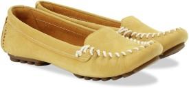 Clarks Evesham Melody Honey Nubuck Slip On shoes(Yellow)
