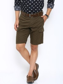 Showoff Checkered Men's Dark Green Basic Shorts